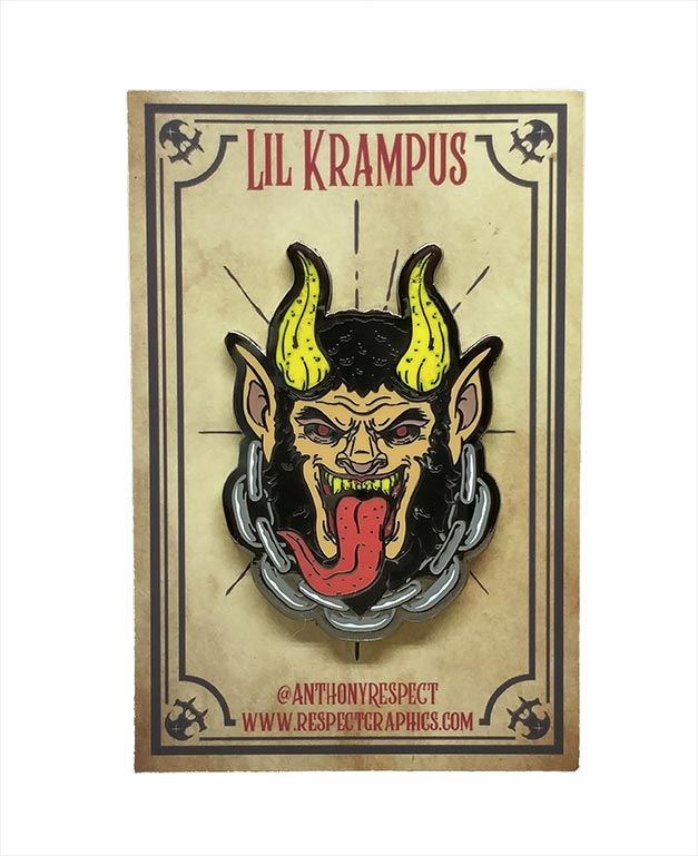 Krampus Classic Edition Black Nickel Screenprinted Hard Enamel Pin With Chain By Respect