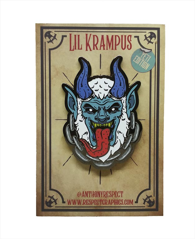 Krampus Yeti Limited Edition Black Nickel Screenprinted Hard Enamel Pin With Chain By Respect