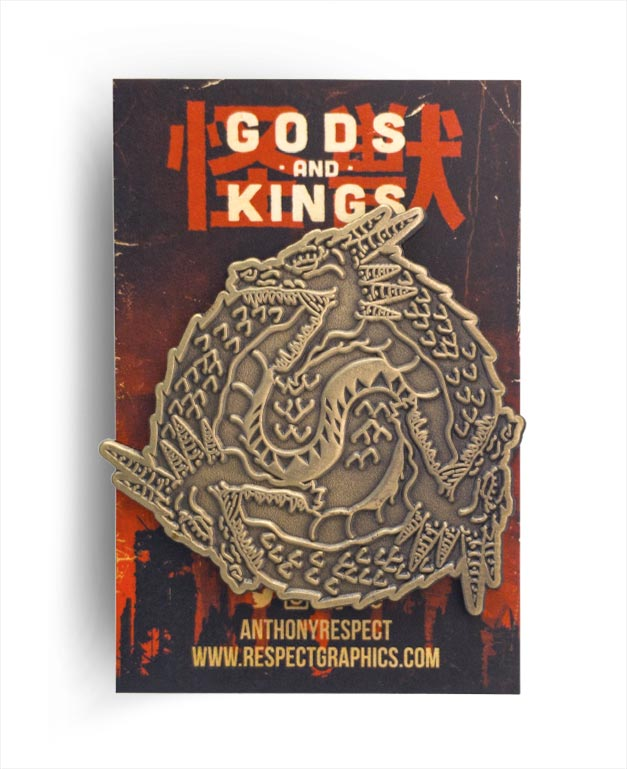 Ghidorah Ghidoroboros Relic Edition Antique Brass Finish Kaiju Gods and Kings Enamel Pin By Respect