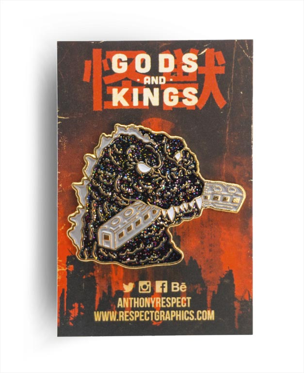 Gojira 54 Train Biter Void Limited Edition Gold Finish Kaiju Gods and Kings Enamel Pin By Respect