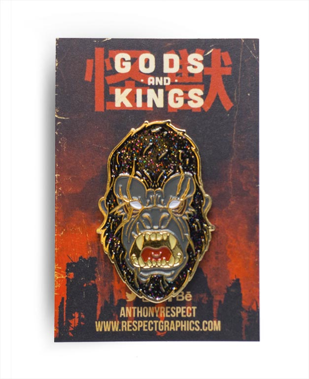 King Kong Void Limited Edition Gold Finish Kaiju Gods and Kings Enamel Pin By Respect