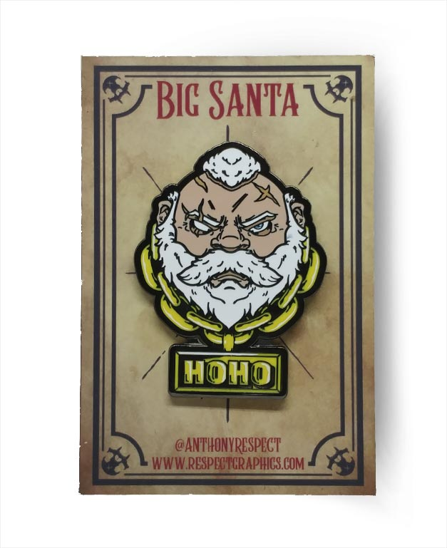 Santa Claus Classic Edition Black Nickel Screenprinted Hard Enamel Pin With Hoho Gold Chain By Respect